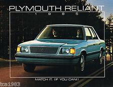 1985 Plymouth RELIANT K car Brochure/Catalog: SE,LE,Station Wagon