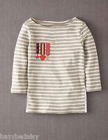 Mini Boden top girls cotton applique t- shirt medals  breton beige stripe