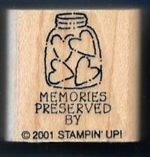 MEMORIES PRESERVED LOVE Jar Hearts Jam Gift Tag words Stampin' Up! RUBBER STAMP