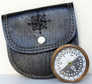 Antique Brass Astrolabe Working Compass With Black Leather Case Vintage Marine