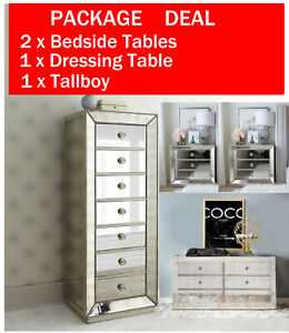Mirrored Bedside Tables Dressing Console Table Tallboy Mirror Furniture Cabinet