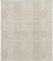 Ivory Floral Hand-Knotted Turkish Oushak Oriental Rug Muted Antique Style 4x5