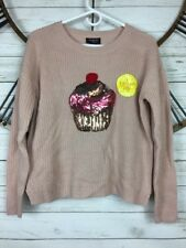 Hooked up Knit Cupcake Pullover Sweater Womens Juniors Whimsy Top Pink Combo S