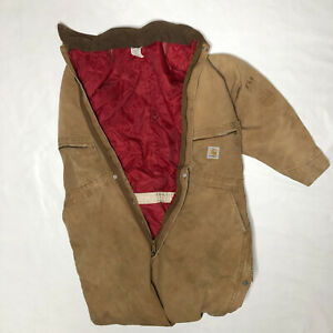 VINTAGE Carhartt Brown Tan Duck Canvas Lined Full Body Suit Men's 48 Reg (XL)
