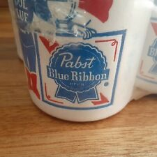 "5-Vtg Pabst Blue Ribbon Styrofoam Beer Can Coozies-""Thermo Coasters"""