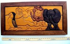 "SIGNED Hand Carved Wood ZOO ANIMAL MENAGERIE Vintage Wall Plaque LARGE 31"" 8 LB"