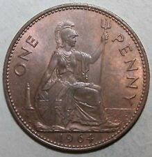 1964 Vintage Old Style British QE II Britannia Penny Coin (1 Pence). COLLECTABLE