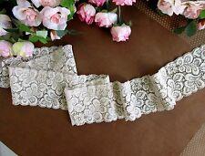 6 cm width warm Pale Grey Stretch Lace Trim