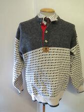 """Tradizionali Vintage nordico Norvegese Modello Button Maglione Collo Taglia M 38-40"""""""