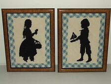 Antique Pair of Dutch Framed Embroidery Victorian Silhouette Tapestry Samplers