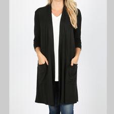 Zenana Premium Womens Open Cardigan Plus Size 1X Black 3/4 Sleeve Pocket