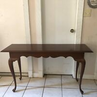 Mahogany Queen Anne Style Console Foyer  Entry Hall Table