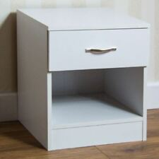 Home Discount White Bedside Cabinet 1 Drawer With Metal Handles and Runners