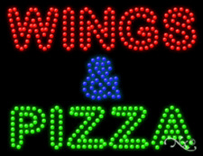 """BRAND NEW """"WINGS & PIZZA"""" 26x20 SOLID/ANIMATED LED SIGN W/CUSTOM OPTIONS 21795"""