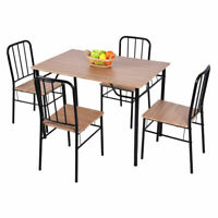 5 Piece Dining Set Metal Wood Modern Table And 4 Chairs Home Kitchen Furniture