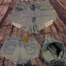 Women's SZ 9 High Waisted DISTRESSED Levi Light Blue Wash SHORT SHORTS #V1