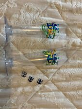 2 Royal caribbean cruise Plastic Cocktail Glasses And 3 Stirrers