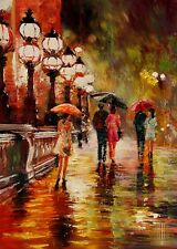 YARY DLUHOS Paris City Summer Rain Umbrella Night Ltd Edition ACEO Print Art .