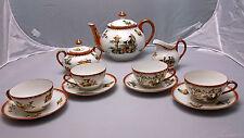 Vintage Mitterteich Tea Set For 4, Red & Gold, Oriental Pattern, Geisha, Floral
