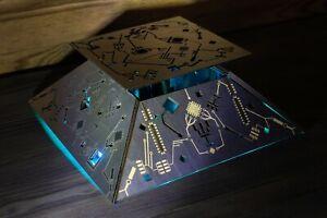 Cyberpunk Lamp - Truncated Metal-Look Pyramid Night Lamp - Handmade Sci-fi Punk