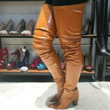 Party Sexy Women Over Knee Boots Pointy Toe Chunky High Heel Shoes Plus Sz 4-15