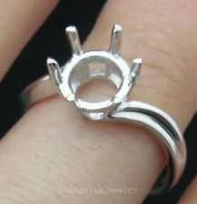 Free Shipping 8.0x8.0mm Round Cut 925 Sterling Silver Semi Mount Ring Jewelry