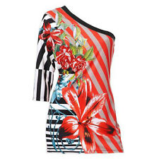genial sexy Party Abend Blumen Bunt ONE SHOULDER TOP Shirt OBERTEIL Gr.38/40