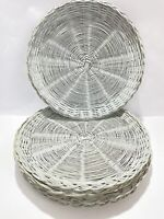"""Lot Of 6 Gray Wicker Rattan Bamboo Paper Plate Holders 10""""  Wall Decor Camping"""