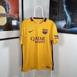 Men NIKE DRI-FIT BARCELONA 2015-16 AWAY Match LaLiga Football Shirt Yellow Large