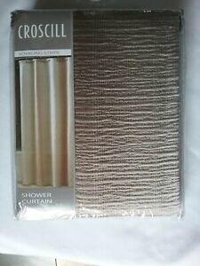CROSCILL Roebling Stripe 100% Fabric Shower Curtain Champagne  Neutral