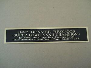 Denver Broncos Super Bowl 32 Nameplate for a Football Helmet Case 1.25 X 6