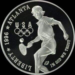 1996 P Olympic Tennis Silver Dollar Silver Dollar Gem Proof No Reserve