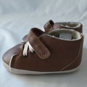 Teeny Toes Boys Shoes Infant Baby Size 4W Brown Cognac Vegan Leather Hook Loop