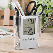 Desk Pen Pencil Organiser Cup Holder w/ LCD Display Alarm Clock Thermometer
