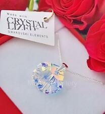 925 STERLING SILVER NECKLACE CRYSTALS FROM SWAROVSKI® SHELL 16MM CRYSTAL AB