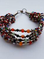 Vintage boho hippy style multi strand beaded multi-colour bracelet