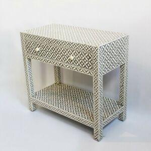 Made to Order Indian Handmade Bone Inlay Rectangular Side Table Grey Geometric