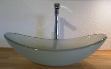Aufsatz Glas Waschschale Waschbecken oval satiniert Waschtisch Glaswaschbecken