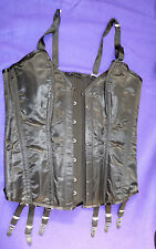 SATIN steel boned black corset basque 38 waist lace back 6 suspender strap TV