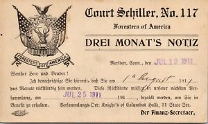 Postcard Foresters of America Court Schiller No 117 Meriden, Connecticut~3801