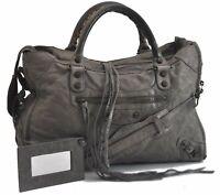 Authentic BALENCIAGA Classic City 2Way Hand Bag Leather Gray B7979
