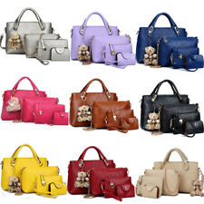 4PCS Set Women Lady Leather Shoulder Bag Handbag Satchel Clutch Coin Purse  Lot 9cb1cad7c66