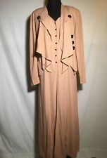 Wild Rose Vintage Dress With Matching Jacket Pink Pleated Black Buttons 80's Vtg