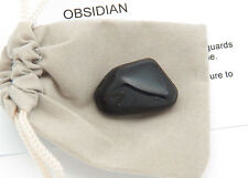 1 Black OBSIDIAN tumbled stone Volcanic Glass Gemstone w pouch sz Large 8.1-15 g