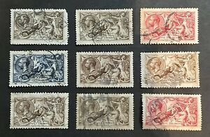Great Britain GB KGV Sea Horses Collection       SG399 - 402  405 - 409. Used