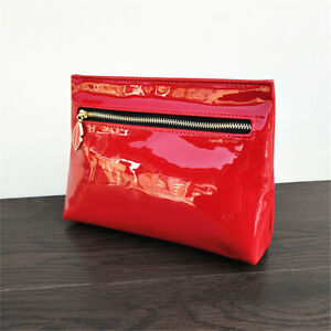 YSL Beauty Red Faux Patent Leather Makeup Cosmetics Bag, Travel Toiletry Pouch