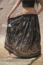 Handpainted Skirt Black Burnt Orange Gypsy Long Wedding Hippie Boho Sequins Boho