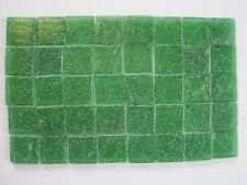 """Loose 3/4"""" (2 cms) square Glass Mosaic Tiles - 40 pieces - """"Angelica Green"""""""