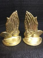 "Vintage Brass Praying Hands Book Ends Labeled 7"" tall"