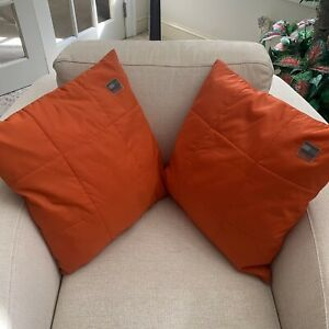 "Tommy Hilfiger Decorative Orange Square Pillows 18"" x 18"" Set of 2 Rare Vintage"